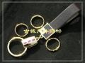 韩国777-X4647G黑色真皮三环钥匙扣